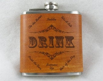 Flask with Hand Dyed Leather Wrap - Humorous DRINK sayings