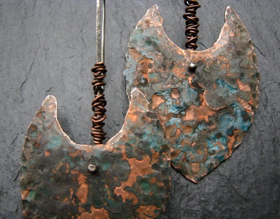 Just Excavated - Textured copper and silver clovis earrings