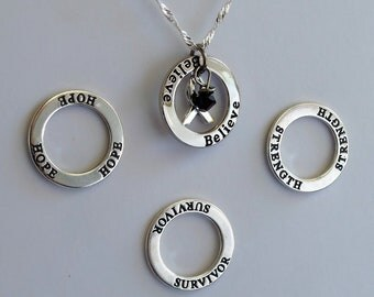 Strength- Survivor - Hope - Believe -  Custom Cirrhosis, Sleep Apnea, Melanoma Awareness Inspirational Necklace - Sterling Silver