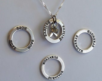 Strength- Survivor - Hope - Believe - Custom Allergy, Diabetes, Brain Cancer Awareness Inspirational Necklace - Sterling Silver