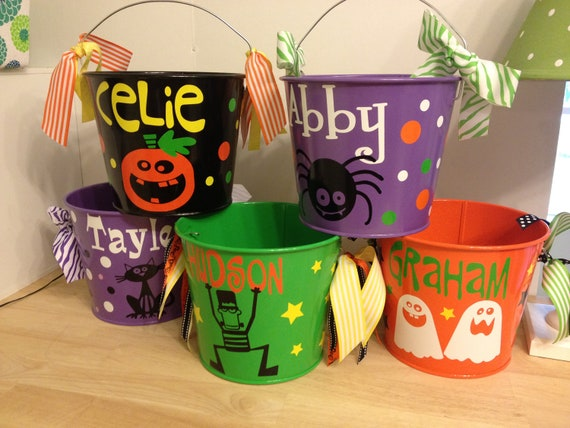 Halloween bucket: Personalized halloween trick or treat metal bucket, 5 quart pail, LOTS of colors