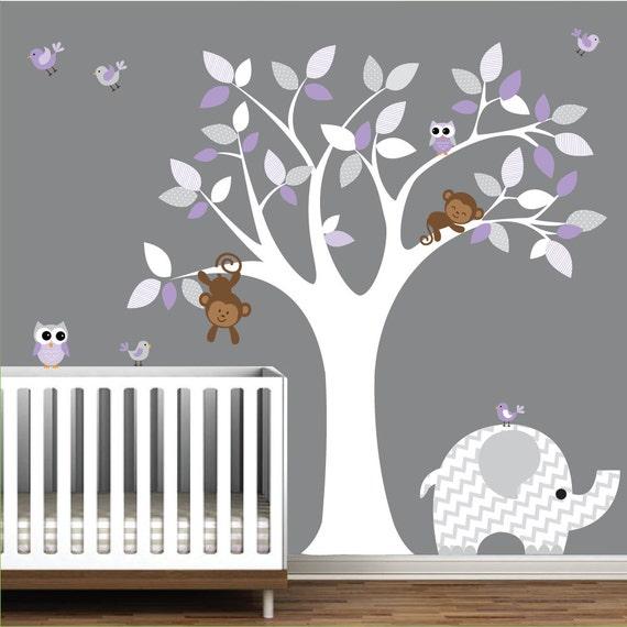 Wall art decor jungle decal elephant owl monkey e11 for Stickers habitacion bebe