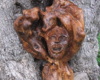 The Green Man, hand carved olive wood sculpture