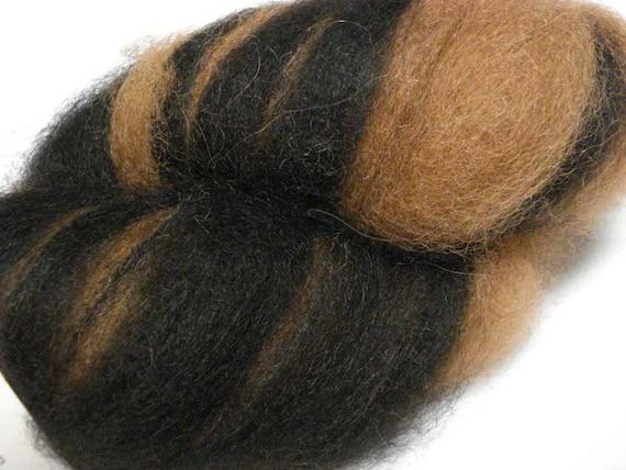 SALE 25% OFF - Alpaca Roving - Black and Medium Brown -4 oz