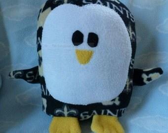 Plush New Orleans Saints Penguin Pillow Pal, Baby Safe, Machine Washable