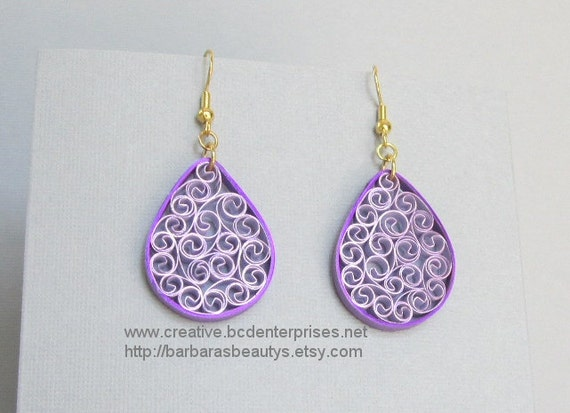 Quilling Earrings, Metallic Purple and Lavender
