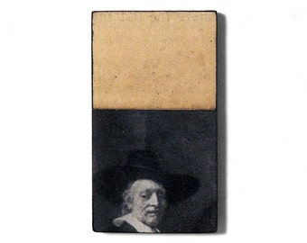 fridge magnet - Syndic of the Cloth Guild - portrait, Rembrandt, Dutch, original collage art