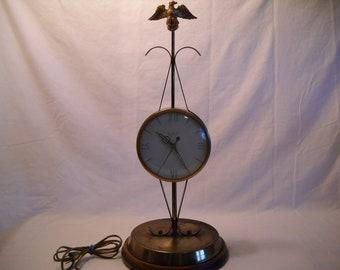 Vintage Brass Eagle Clock/United Brass Clock/Table Clock/Desk Clock/Vintage Clock/Eagle Clock/Electric Clock