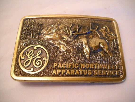 Vintage Elk Belt Buckle Pacific Northwest Apparatus Service