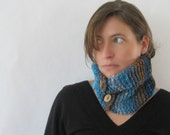 Knitted Neckwarmer - Rustic Texture Silk and Wool Chunky Knit Neck Cowl Subtle Stripes Blue Brown Aqua