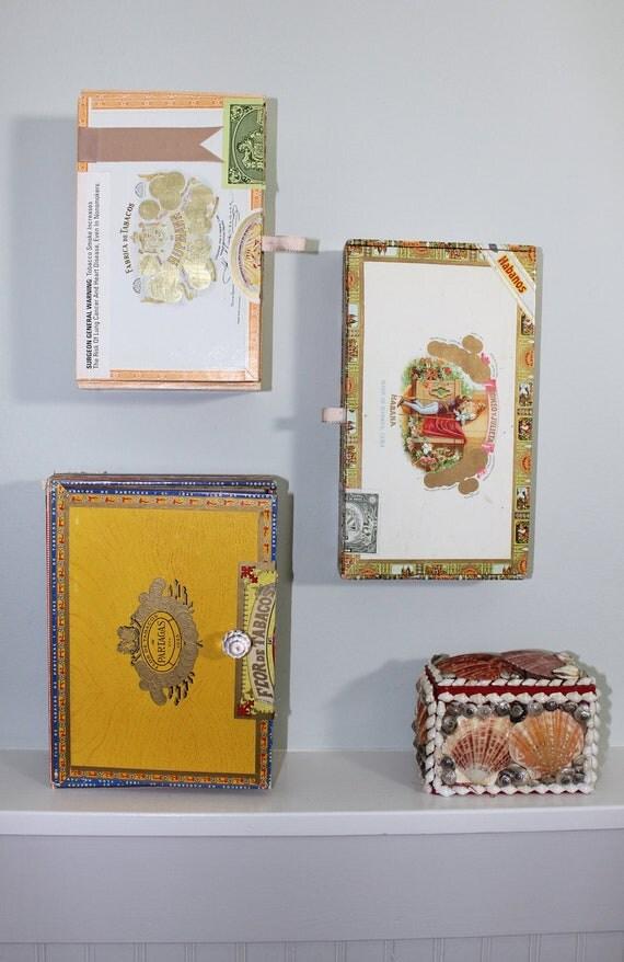 Jewelry Organizer - Recycled Cigar Box Wall Storage with Hooks