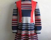 70s Vintage Striped Mini Dress Sz 4 - SALE