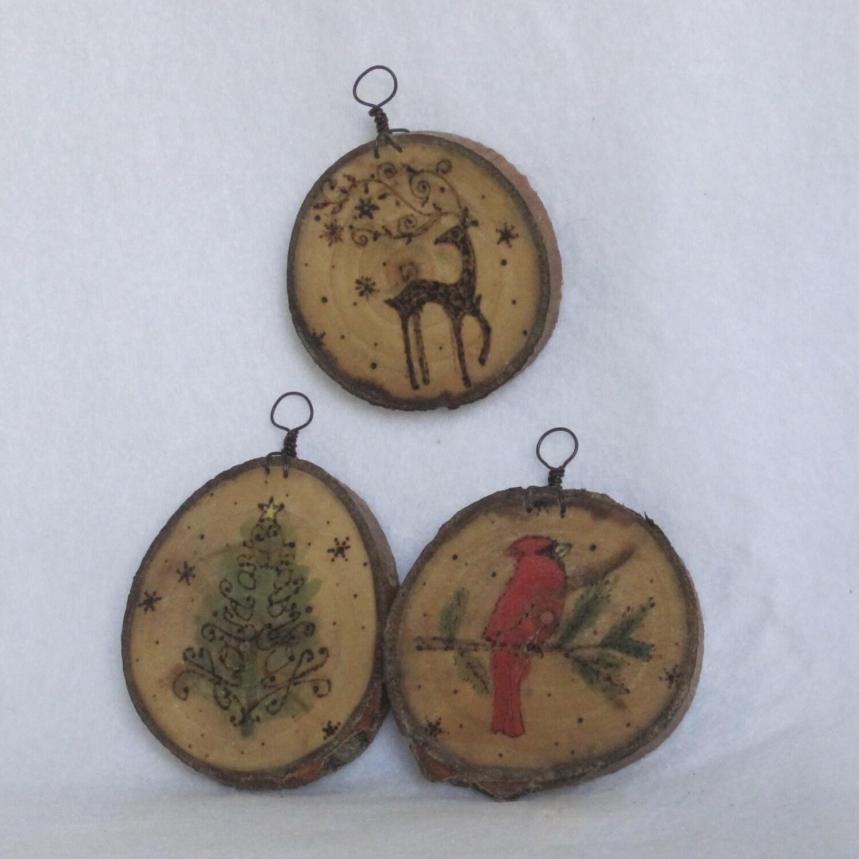 set of 3 painted wood burned cookie ornaments deer by artpixie