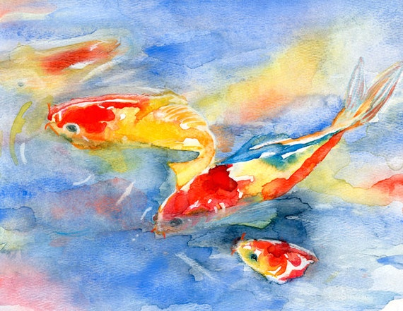 Koi fish in water watercolor print signed by artist stephanie for Coy fish painting