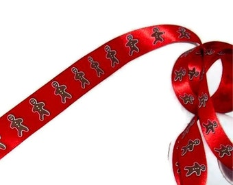 """Gingerbread Man on Red Ribbon 7/8"""" X 5 yards"""