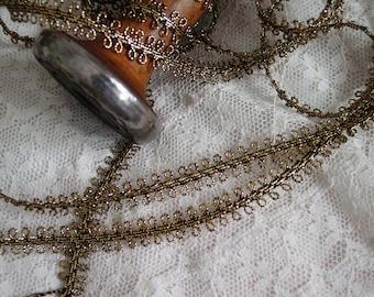 Vintage Metallic Gold and Black Braided Double Loop Trim, 3 yards