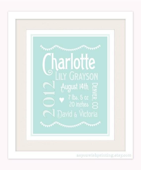 Personalized Baby Girl 8x10 Birth Print - Typography Nursery Art