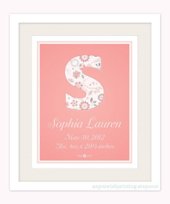 Personalized Monogram Birth Print, Coral Nursery Art