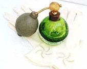 Green Glass / Vintage Perfume Bottles / Art Glass / Perfume Atomizer