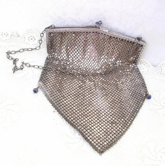 Antique Mesh Purse  Silver Mesh Purse  Bags and Purses   Flapper Bag  Silver Victorian  Blue Stones