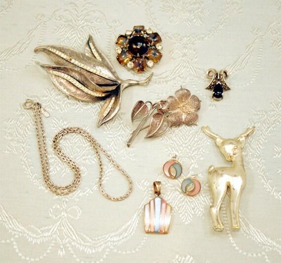 Vintage Silver Jewelry Lot, Vintage Sterling Silver Jewellery Lot, Brooch Pendant Earrings Necklace Rhinestone
