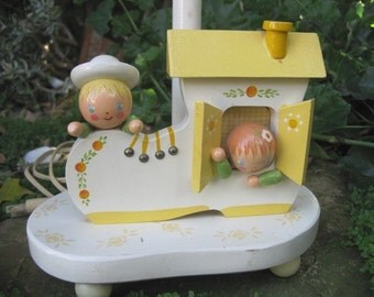 Vintage Irmi Wooden Nursery Lamp with Night Light