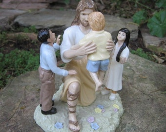 Vintage Porcelain John M. Soderberg Jesus with Children - Crystal Cathedral Hour of Power