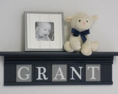 Gray and Navy Nursery Wall Decor / Room Decor - Personalized for Baby Navy Shelf with Grey and Navy Blue Wall Letters
