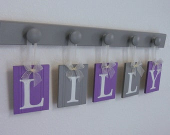 Purple and Gray Baby Girl Nursery Decor Wall Letters Personalized Name Tags for LILLY with 5 Wooden Hooks Painted Grey