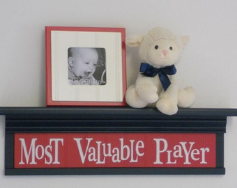 "Navy and Red Nursery - Most Valuable Player - Sign on 24"" Navy Shelf  - Sport Wall Decor Baby Nursery"