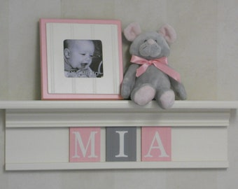 Personalized Baby Items - Pastel Light Pink and Gray Name Sign - White Shelf with  Custom Wooden Wall Letters
