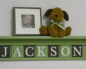 """Brown and Green Nursery Baby Boy Name JACKSON on 30"""" Light Green Shelf - 7 Wood Wall Letters"""