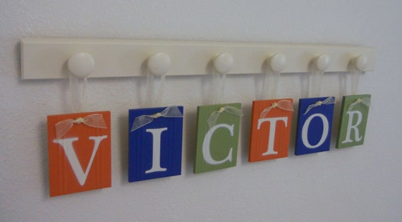 Orange, Blue and Green Nursery Decor Baby Boy Room Wall Decor Name for VICTOR - 6 Wooden Hooks Linen White