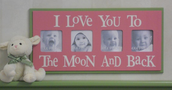 Pink and Green Nursery Decorating Ideas - I Love you to the Moon and Back - Pink Nursery Wall Art Baby Sign 4x4 Picture Frame