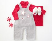 Knitted overalls with straps with felt stars and booties. 100% wool. Newborn. Item unique. - tenderblue
