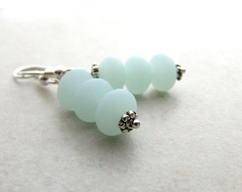 Sea Glass Seaglass Earrings Mint Green Seafoam  BellinaCreations Bellina Creation