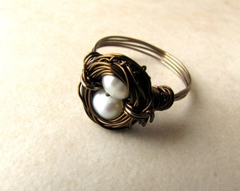 Birds Nest Ring, Hummingbird Nest Ring, Custom Birds Nest, Bird Lovers, Gifts for Mothers, Pearl Ring, Newborn, New Baby