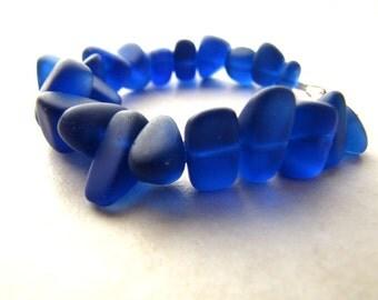 Seaglass Sea Glass Bracelet Cobalt Blue Custom Size BellinaCreations Bellina Creation