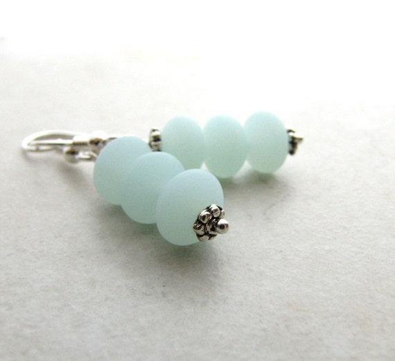 Sea Glass Seaglass Earrings Mint Green Seafoam  BellinaCreations Bellina Creation