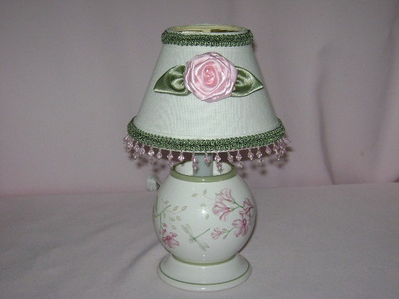 Lenox Base Lamp with Braid, Rolled Ribbon Rose, and Pink Bead Trim