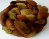Kettle dyed Roving Peruvian Wool Top Hand Dyed Hand Painted Brown tones &  Beige