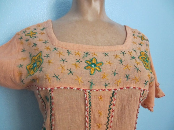 70s Gauze Embroidered Hippie Top Blouse