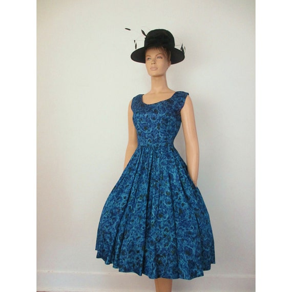 50s Vintage Silky Floral Cocktail Dress Deep Blue medium large