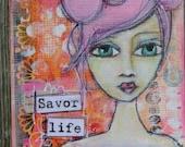 Original art ACEO Mixed Media portrait - whimsical girl - pink, orange - inspirational art