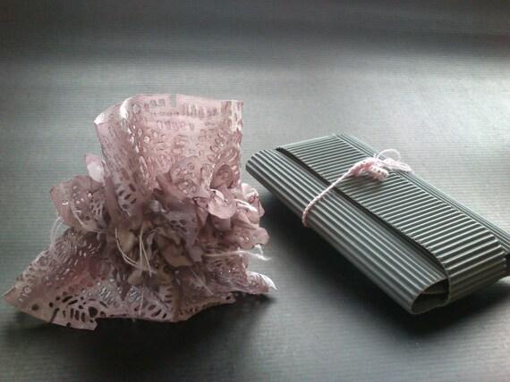 OOAK fabric cuff bracelet in light rosybrown