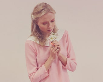 Pink  60s inspired peter pan collar long sleeve shift dress moonrise kingdom