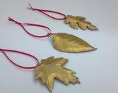 Set of 3 Hand-made Brass Holiday Leaves:metal art,metal sculpture,home decor,wall art,wall decor,American made,Christmas,Autumn