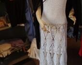 SALE!Cochet lace white cotton long maxi bohemian hippie bridal wedding party beach womens girls romantic dress
