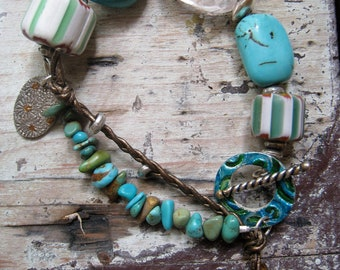 Turquoise Bracelet, Rock Crystal, African Trade Beads and Leather Bracelet