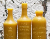 Beeswax Candle Collection - Meals & Medicine - Owl Drug, Imported Olive Oil, and Soda Water bottles Lg.